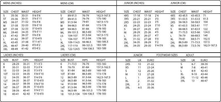 Alder Wetsuits Size Chart